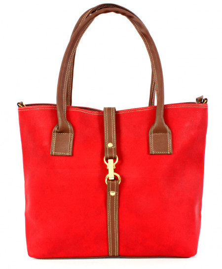 Red Brown Hook Lock Stitched Style Handbag WT-3039