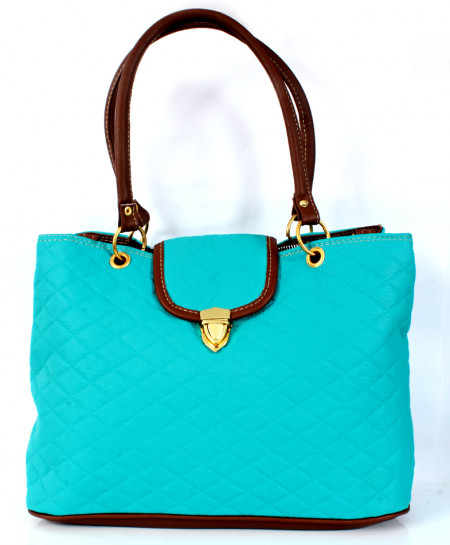 Sky Blue Stitched Stylish Handbag WT-3044