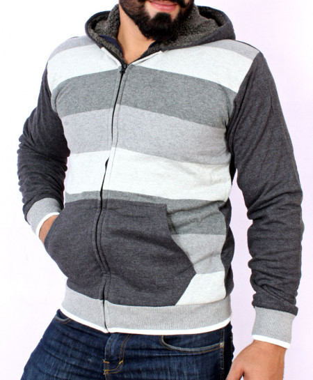 MultiColor Striper Stylish Hoodie With Fur For Men FSL-030