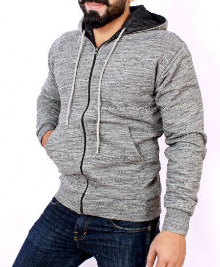 Grey Textured Stylish Hoodie With Fur For Men FSL-019