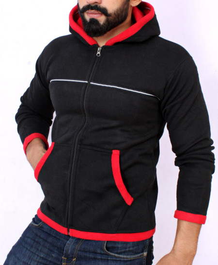 Black Stylish Hoodie For Men FSL-011