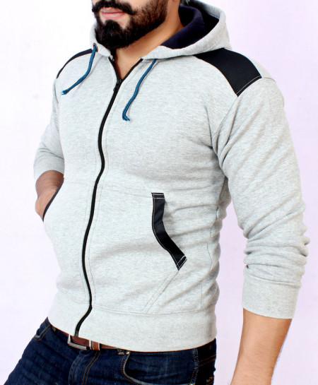 Grey With Black Contrast Stylish Hoodie For Men FSL-009