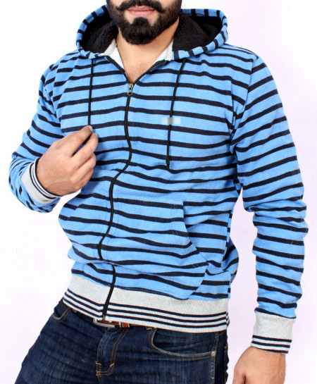Blue Striper Stylish Hoodie With Hooded Fur FSL-002