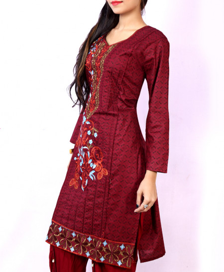 Maroon Front Embroidered Stylish Ladies Suit NM-1005