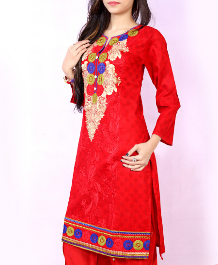 Red Embroidered Stylish Ladies Suit NM-1010