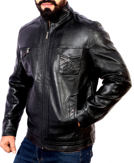 Black Duel inner Zip Flap Pocket Leather Jacket BJ-1154