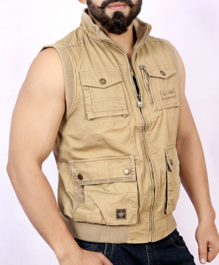 Khaki 4 Cargo Pocket Style Sando Jacket BJ-1155