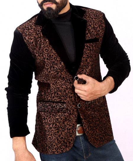 Choco Brown Self Print Stylish Velvet Blazer ABS-24