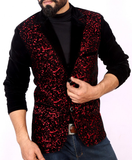 Maroon Self Print Stylish Velvet Blazer ABS-25
