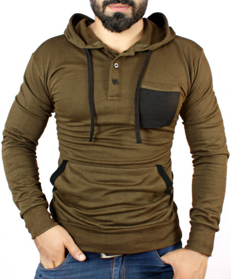 Army Green Henley Style Terry Fleece Hoodie FS-4540