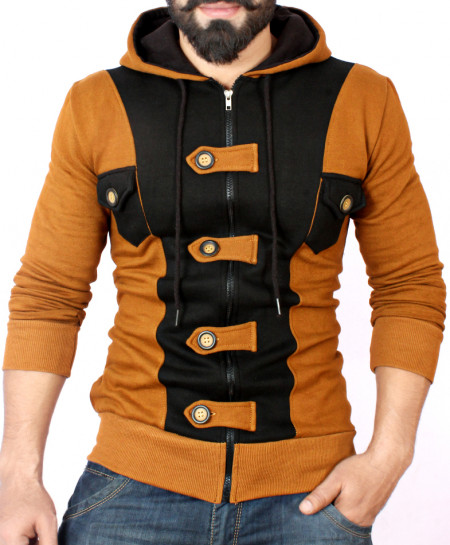 Loop Button Brown Black Zipper Fleece Hoodie FS-2552