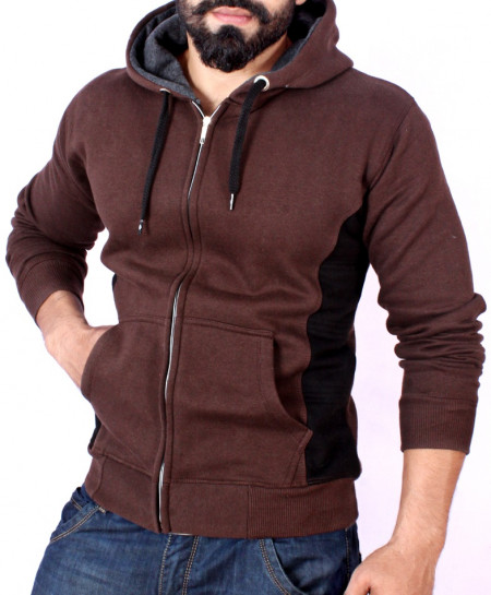 Choco Brown With Black Contrast Stylish Fleece Hoodie ABS-36
