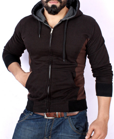 Black With Choco Brown Stylish Fleece Hoodie ABS-37
