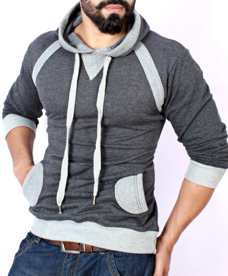 Charcoal With Heather Grey Stylish Fleece Kangaroo Hoodie ABS-38