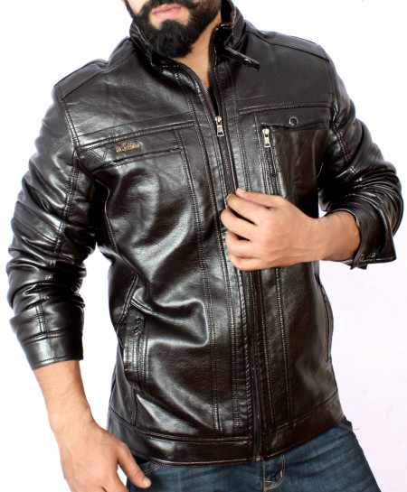 Choco Black 4 Pocket Mock Neck Leather Jacket BJ-1161