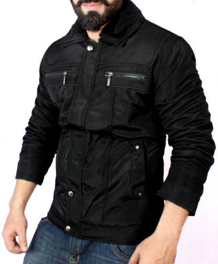 Parachute Dual Collar Black Jacket BJ-1163