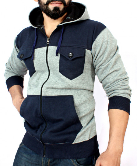 Navy Blue And Grey Flap Pocket Style Hoodie FSL-039