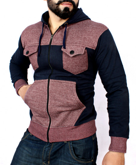 Maroon And Navy Blue Flap Pocket Style Hoodie FSL-041