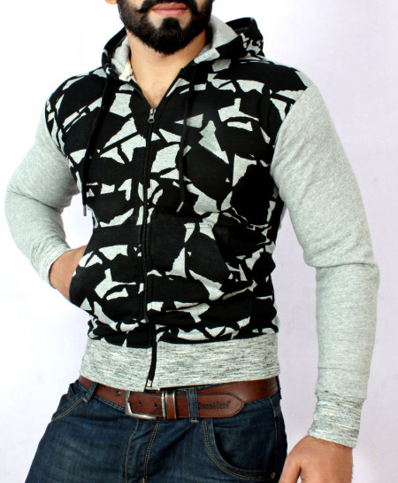 Black And Grey Stylish Zipper Hoodie FSL-053