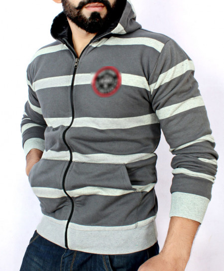 Grey Striper Zipper Hoodie Inside Polyester FSL-056