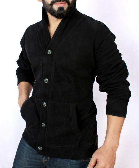 Black Cardigan Style Sweat Shirt FSL-052