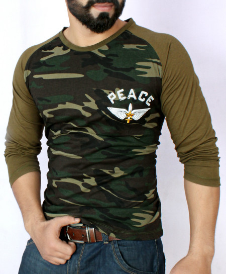 Peace Army Camouflage Full Sleeve T-Shirt QZS-082