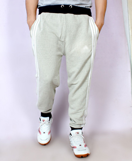 Heather Grey Terry Striper Narrow Bottom Trouser AG-11