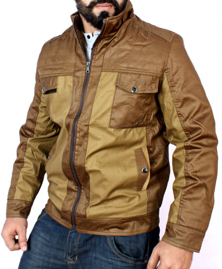Parachute Mock Collar Coffee Brown Jacket BJ-1165