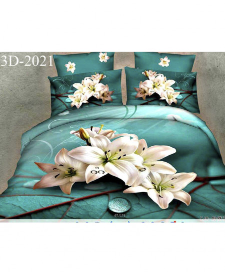 3D Turquoise Floral Cotton Satin Bedsheet SN-2021