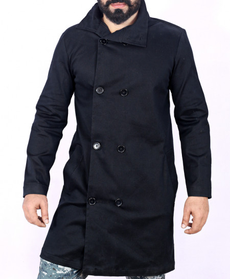 Black Side Button Drill Cotton Long Coat FS-2559