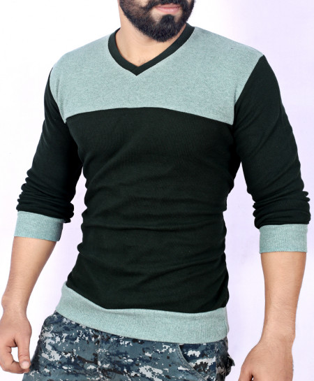 Two Tone Stylish Green Sweat Shirt MWS-046