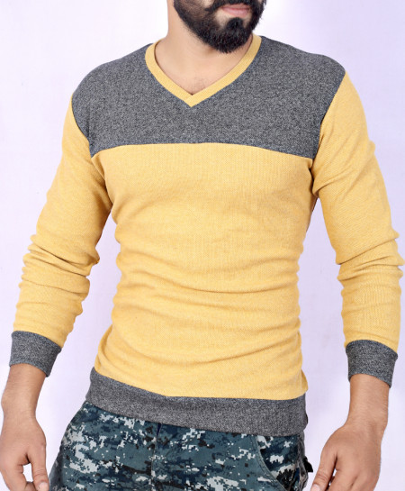 Two Tone Stylish Charcoal Mustard Sweat Shirt MWS-048