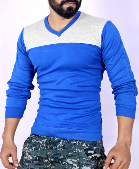 Two Tone Stylish Grey Royal Blue Sweat Shirt MWS-049