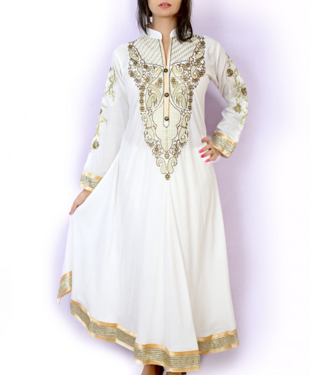White Embroidered Stylish Ladies Long Kurti KC-3443