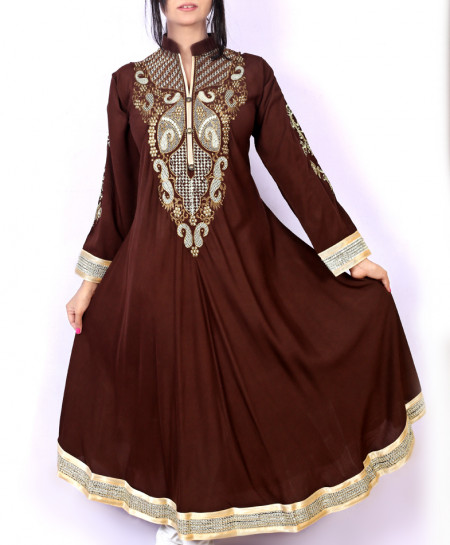 Brown Embroidered Stylish Ladies Kurti KC-3445