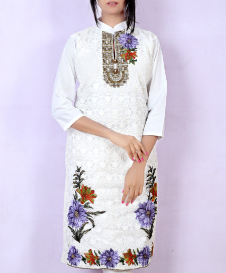 White Embroidered Stylish Ladies Kurti KC-3447