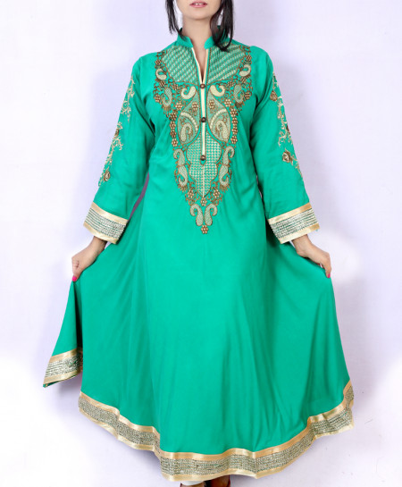 Sea Green Front Back Embroidered Stylish Kurti KC-3459