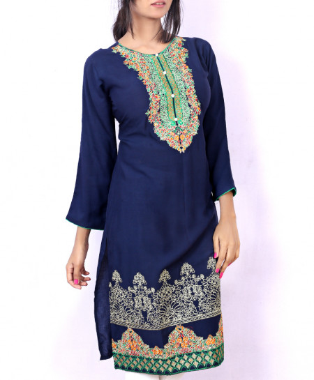 Navy Blue Embroidered Stylish Ladies Kurti KC-3463