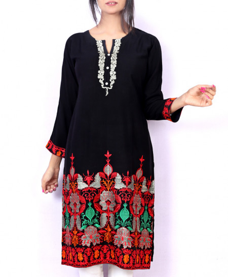 Black Bottom Embroidered Stylish Ladies Kurti KC-3464