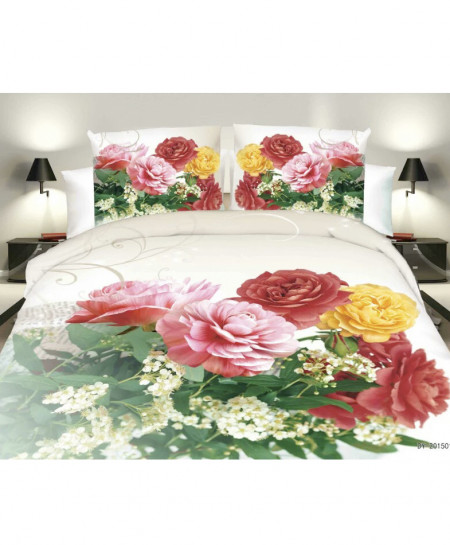3D Varicolored Floral Cotton Satin Bedsheet SD-0356