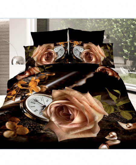 3D Black Clock Floral Cotton Satin Bedsheet SD-0376