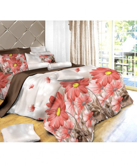 3D White Floral Cotton Satin Bedsheet SD-0420