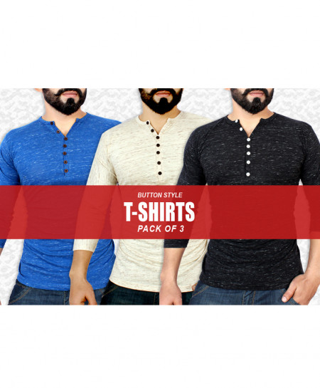 Pack Of 3 Button Style Full Sleeves T-Shirts MA-5433