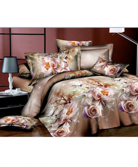 3D Light Brown Floral Cotton Satin Bedsheet SD-0423