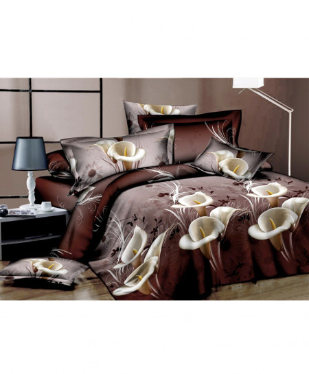 3D Choco Brown Floral Cotton Satin Bedsheet SD-0424