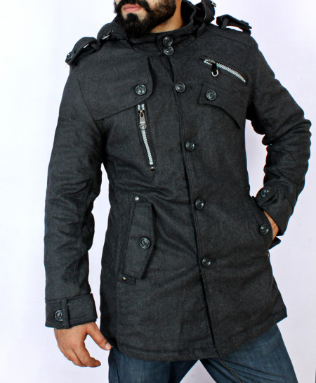 Charcoal Wool zipper Style Hooded Coat MAR-01