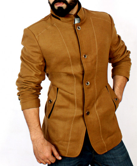 Brown Wool Trendy Coat MWS-050