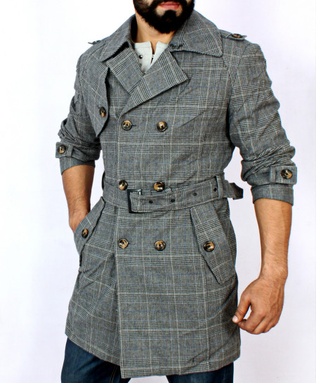 Grey Checkered Cotton Trendy Long Coat MWS-051