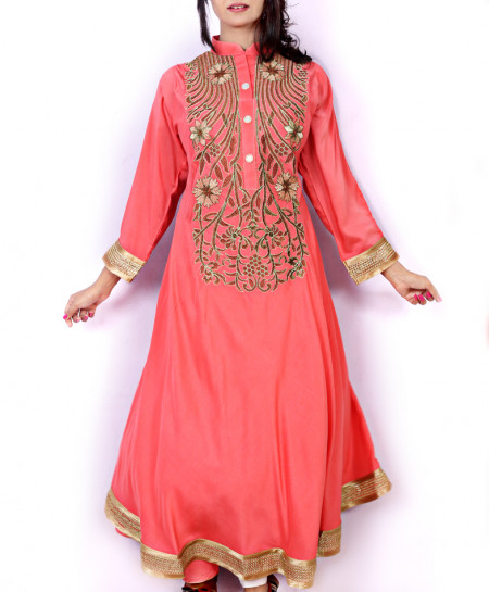 Pink Front Embroidered Stylish Ladies Kurti KC-3469