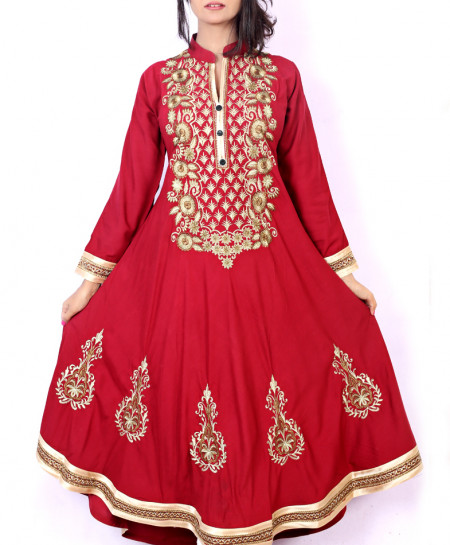 Maroon Front Embroidered Stylish Ladies Kurti KC-3470